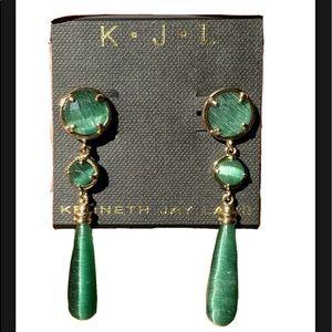 Kenneth Jay Lane KJL Cats Eye Gold Plated Earrings